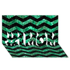 Chevron3 Black Marble & Green Marble #1 Mom 3d Greeting Cards (8x4)