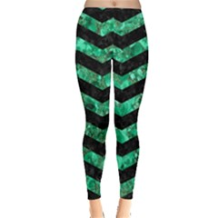 Chevron3 Black Marble & Green Marble Leggings  by trendistuff