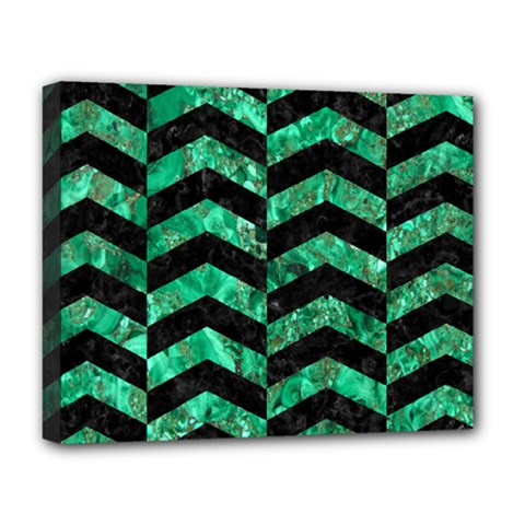 Chevron2 Black Marble & Green Marble Deluxe Canvas 20  X 16  (stretched) by trendistuff