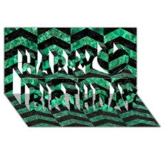Chevron2 Black Marble & Green Marble Happy Birthday 3d Greeting Card (8x4) by trendistuff