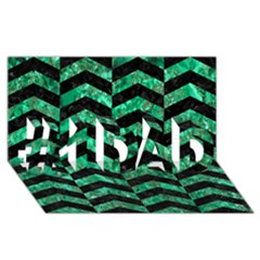 Chevron2 Black Marble & Green Marble #1 Dad 3d Greeting Card (8x4) by trendistuff