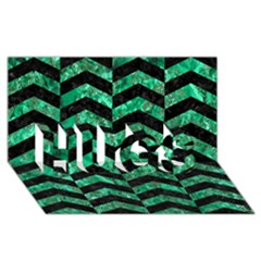 Chevron2 Black Marble & Green Marble Hugs 3d Greeting Card (8x4) by trendistuff