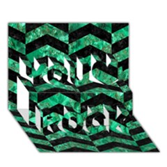 Chevron2 Black Marble & Green Marble You Rock 3d Greeting Card (7x5)