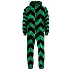 Chevron2 Black Marble & Green Marble Hooded Jumpsuit (men) by trendistuff