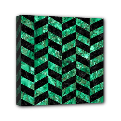 Chevron1 Black Marble & Green Marble Mini Canvas 6  X 6  (stretched) by trendistuff