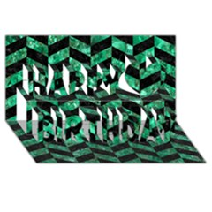 Chevron1 Black Marble & Green Marble Happy Birthday 3d Greeting Card (8x4) by trendistuff
