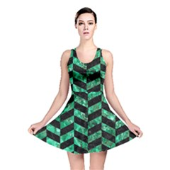 Chevron1 Black Marble & Green Marble Reversible Skater Dress by trendistuff