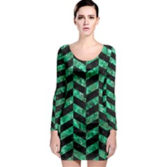 Chevron1 Black Marble & Green Marble Long Sleeve Bodycon Dress by trendistuff