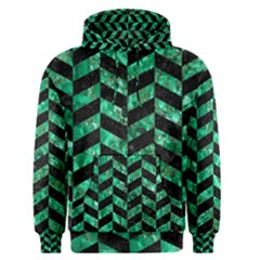 Chevron1 Black Marble & Green Marble Men s Pullover Hoodie