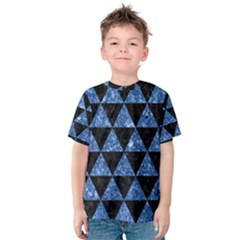 Triangle3 Black Marble & Blue Marble Kids  Cotton Tee by trendistuff