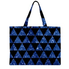 Triangle3 Black Marble & Blue Marble Zipper Mini Tote Bag by trendistuff
