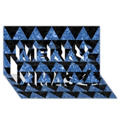 Triangle2 Black Marble & Blue Marble Merry Xmas 3d Greeting Card (8x4) by trendistuff