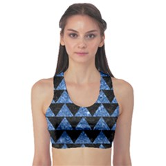 Triangle2 Black Marble & Blue Marble Sports Bra by trendistuff