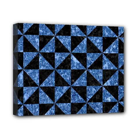 Triangle1 Black Marble & Blue Marble Canvas 10  X 8  (stretched) by trendistuff
