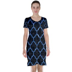 Tile1 Black Marble & Blue Marble (r) Short Sleeve Nightdress