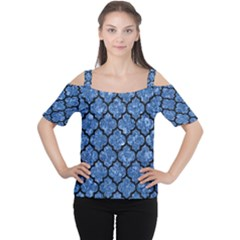 Tile1 Black Marble & Blue Marble Cutout Shoulder Tee by trendistuff