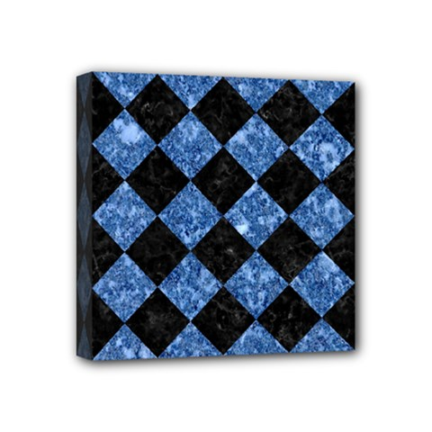 Square2 Black Marble & Blue Marble Mini Canvas 4  X 4  (stretched) by trendistuff