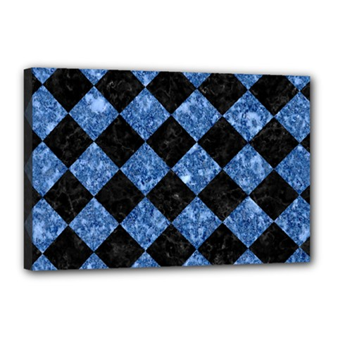 Square2 Black Marble & Blue Marble Canvas 18  X 12  (stretched) by trendistuff
