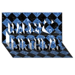 Square2 Black Marble & Blue Marble Happy Birthday 3d Greeting Card (8x4) by trendistuff