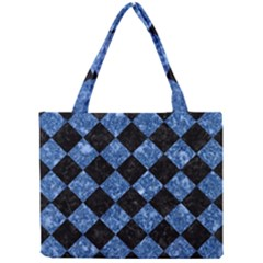 Square2 Black Marble & Blue Marble Mini Tote Bag by trendistuff