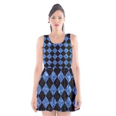 Square2 Black Marble & Blue Marble Scoop Neck Skater Dress by trendistuff