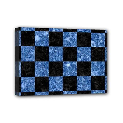 Square1 Black Marble & Blue Marble Mini Canvas 7  X 5  (stretched) by trendistuff