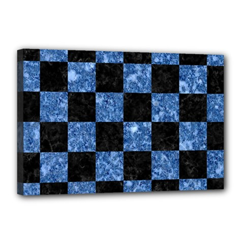 Square1 Black Marble & Blue Marble Canvas 18  X 12  (stretched) by trendistuff