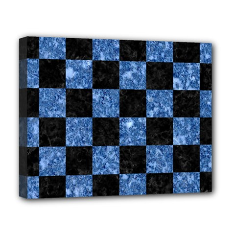 Square1 Black Marble & Blue Marble Deluxe Canvas 20  X 16  (stretched) by trendistuff