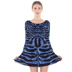 Skin2 Black Marble & Blue Marble (r) Long Sleeve Velvet Skater Dress by trendistuff