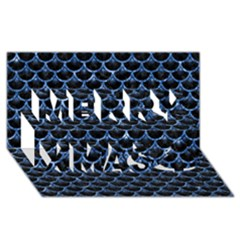 Scales3 Black Marble & Blue Marble (r) Merry Xmas 3d Greeting Card (8x4)