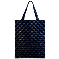 Scales3 Black Marble & Blue Marble (r) Zipper Classic Tote Bag by trendistuff