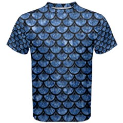 Scales3 Black Marble & Blue Marble Men s Cotton Tee by trendistuff