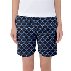 Scales1 Black Marble & Blue Marble (r) Women s Basketball Shorts