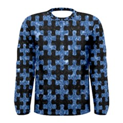 Puzzle1 Black Marble & Blue Marble Men s Long Sleeve Tee