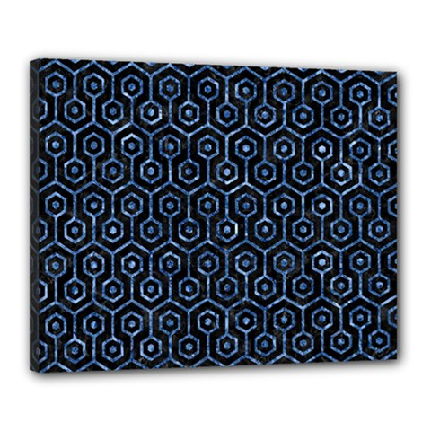 Hexagon1 Black Marble & Blue Marble (r) Canvas 20  X 16  (stretched) by trendistuff
