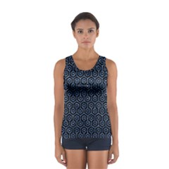Hexagon1 Black Marble & Blue Marble (r) Sport Tank Top  by trendistuff