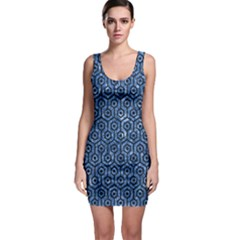 Hexagon1 Black Marble & Blue Marble Bodycon Dress by trendistuff