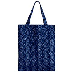 Hexagon1 Black Marble & Blue Marble Zipper Classic Tote Bag by trendistuff