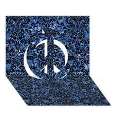 Damask2 Black Marble & Blue Marble Peace Sign 3d Greeting Card (7x5) by trendistuff