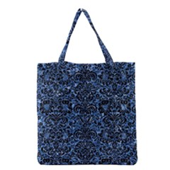 Damask2 Black Marble & Blue Marble Grocery Tote Bag