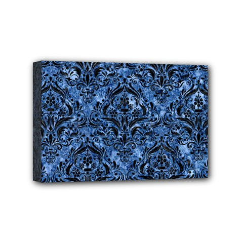 Damask1 Black Marble & Blue Marble (r) Mini Canvas 6  X 4  (stretched) by trendistuff