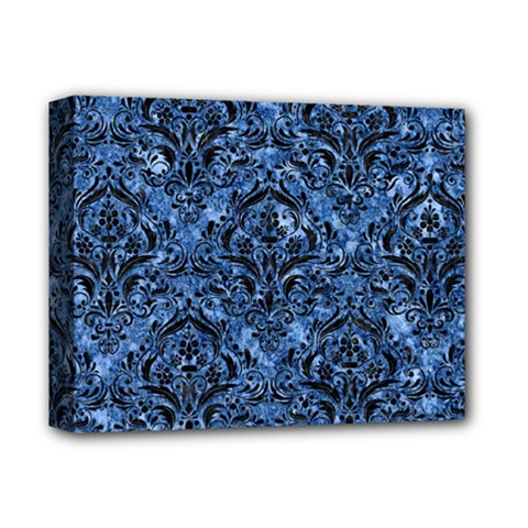 Damask1 Black Marble & Blue Marble (r) Deluxe Canvas 14  X 11  (stretched) by trendistuff
