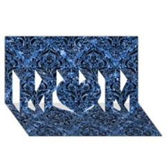 Damask1 Black Marble & Blue Marble (r) Mom 3d Greeting Card (8x4)