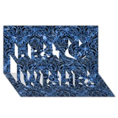 Damask1 Black Marble & Blue Marble (r) Best Wish 3d Greeting Card (8x4)