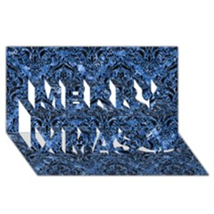 Damask1 Black Marble & Blue Marble (r) Merry Xmas 3d Greeting Card (8x4) by trendistuff