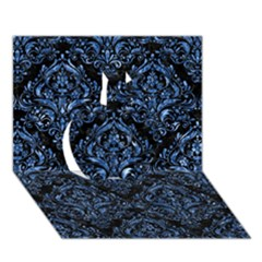 Damask1 Black Marble & Blue Marble Apple 3d Greeting Card (7x5) by trendistuff