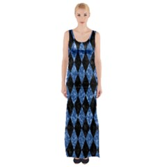 Diamond1 Black Marble & Blue Marble Maxi Thigh Split Dress