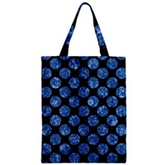 Circles2 Black Marble & Blue Marble (r) Zipper Classic Tote Bag by trendistuff
