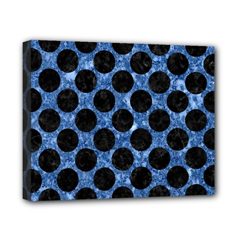 Circles2 Black Marble & Blue Marble Canvas 10  X 8  (stretched) by trendistuff