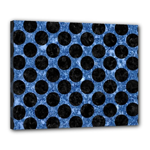 Circles2 Black Marble & Blue Marble Canvas 20  X 16  (stretched) by trendistuff